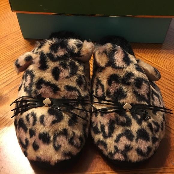 c70a377a5f8c Kate Spade Belinda Leopard Printed Plush Fur cat s